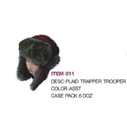 Plaid Aviator Winter hat With Faux Fur 72 pack