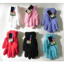 Ladies Stretch Solid Fuzzy Gloves 144 pack
