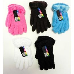 Ladies Stretch Solid Fuzzy Gloves with Feathered Cuff 144 pack