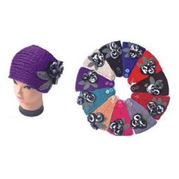 Ladies Winter Ear Warmers With Fuzzy Flower 120 pack