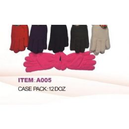 Ladies Fleece Winter Gloves Asst Colors 60 pack