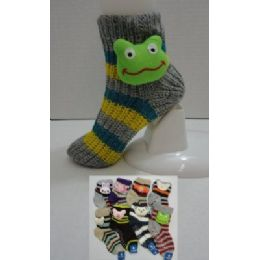 Knit Non-Slip Striped Booty Socks with Characters 9-11 144 pack