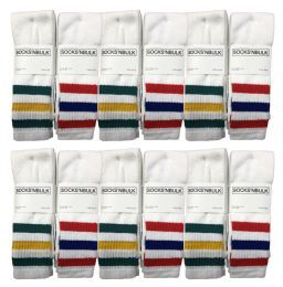 Yacht & Smith Men's 30 Inch Referee Style Cotton Terry Tube Socks, Size 10-13 White With Stripes
