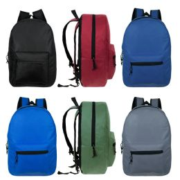 "15"" Kids Basic Backpacks In 6 Assorted Colors 24 pack"