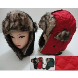 Bomber Hat with Fur Lining--Solid Quilted 36 pack