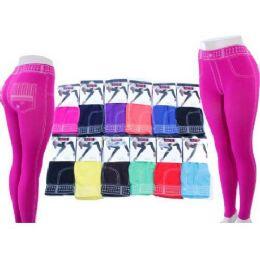 Ladies Jeans Look Leggings In Assorted Colors 60 pack