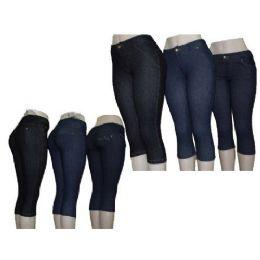 Ladies Denim Like Capri Legging Jegging 60 pack