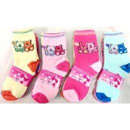 Bear Girl Socks Size 4-6 & 6-8 Assorted Colors 96 pack