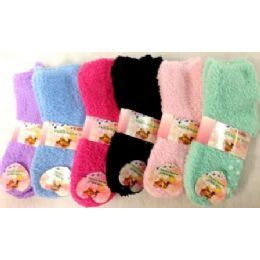Girls Babys Fuzzy Socks size  4-6 solid colors 96 pack