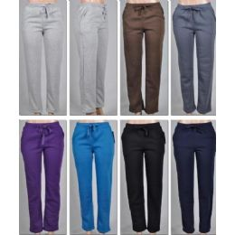 LADIES FLEECE LINED PANTS-PLAIN 2 POCKETS SOLID COLORS 48 pack