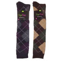 Women Plaid Print Color Knee High 48 pack