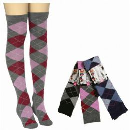 Women Over The Knee Plaid Print Assorted Colors 48 pack
