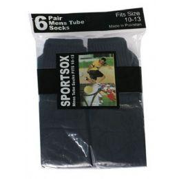 Mens 6 Pair Sport Tube Sock Size 10-13 Black Color Only 30 pack