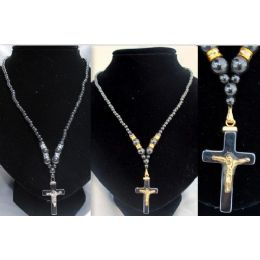 12 pcs magnetic hematite necklace cross with jesus 48 pack