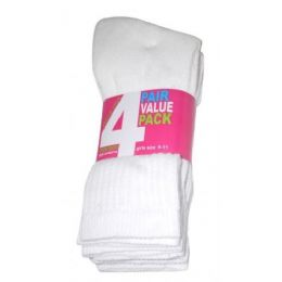 Girls 4 Pair Value Pack Crew Sock White Color Only 45 pack