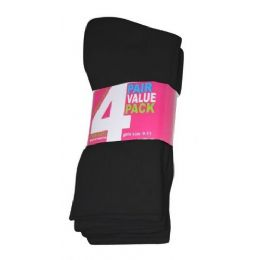 Girls 4 Pair Value Pack Crew Sock Black Color Only 45 pack