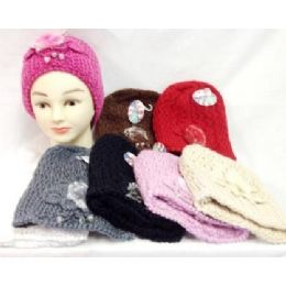 Knit Girl Cap Hats with a fur ball and beads 24 pack