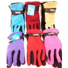 Lady's Fleece Gloves Assorted Colors 72 pack
