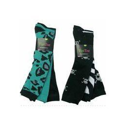 Ladies 3 Pack Animal Print & SKull Knee High Sock 60 pack
