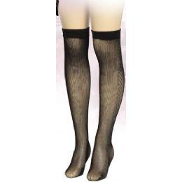Ladies Black Printed Knee High 36 pack