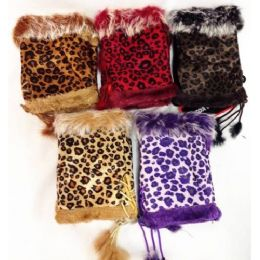 Fingerless Faux Fur Suede Leopard Texting Gloves 24 pack
