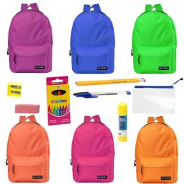"17"" Backpacks With 12 Piece School Supply Kit - In 6 Assorted Colors 24 pack"