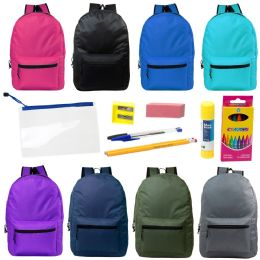 "17"" Backpacks With 12 Piece School Supply Kit - In 8 Assorted Color 24 pack"