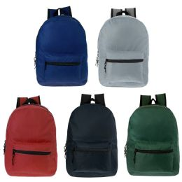 17 Inch Kids Classic Backpack In 5 Solid Colors 24 pack