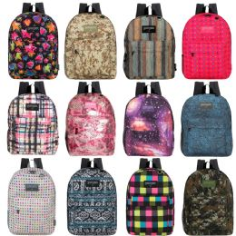 "17"" Kids Classic Padded Backpacks In 8 To 12 Randomly Assorted Unique Prints 24 pack"