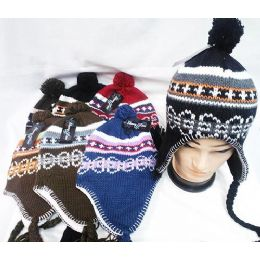 Knit Winter Hats with Ear Flaps Multi Color 48 pack