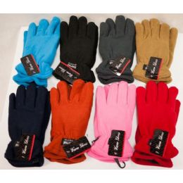 Women Fleece Gloves Thick Assorted Colors 48 pack
