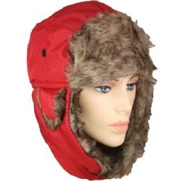 PILOT HAT IN RED WITH FAUX FUR LINING AND STRAP 36 pack
