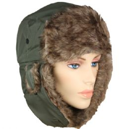 PILOT HAT IN GREEN WITH FAUX FUR LINING AND STRAP 36 pack