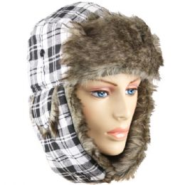 WHITE PLAID WINTER PILOT HAT WITH FAUX FUR LINING AND STRAP 24 pack