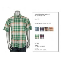 Mens Fashion Plaid Button Down Shirt Y/D 60% Cotton 40% Poly Size Scale B Only 36 pack