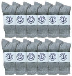 Yacht & Smith Junior Boys Cotton Crew Socks Gray Size 9-11 120 pack
