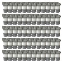Yacht & Smith Kids Premium Cotton Crew Socks Gray Size 6-8 120 pack