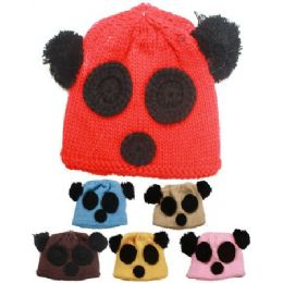 KIDS WINTER BEAR FACE HAT - ASSORTED COLORS 72 pack