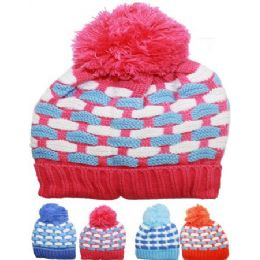 KID WINTER HAT ASSORTED COLOR WITH POM POM 72 pack