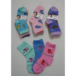Girl's Printed Crew Socks 2-4 180 pack