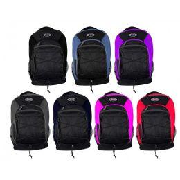 "19"" Bungee Mesh Bulk Backpacks in 7 Assorted Colors 24 pack"