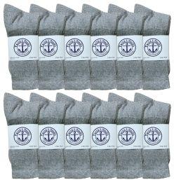 Yacht & Smith Junior Boys Cotton Crew Socks Gray Size 9-11