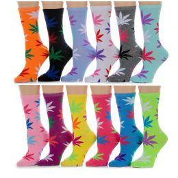 Yacht & Smith Womens Thin Cotton Marijuana Weed Crew Socks, Size 9-11