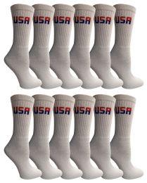 Yacht & Smith Women's Usa American Flag Crew Socks, Size 9-11 White