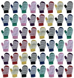 Yacht & Smith Kids Striped Mitten With Stretch Cuff Ages 2-8