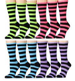 Yacht & Smith Ladies Thin Cotton Striped Crew Socks, Size 9-11