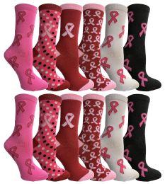 Yacht & Smith Printed Breast Cancer Awareness Socks, Pink Ribbon Women Crew Socks
