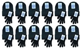 Yacht & Smith Womens Warm Winter Sets 240 Pairs Of Gloves And 240 Hats Solid Black