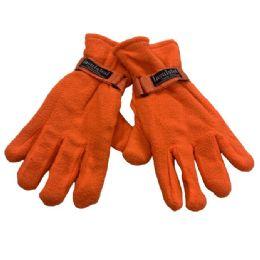 Men's Orange Fleece Gloves 24 pack