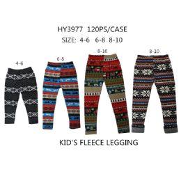 Girls Fashion Tribal Fleece Leggings 60 pack